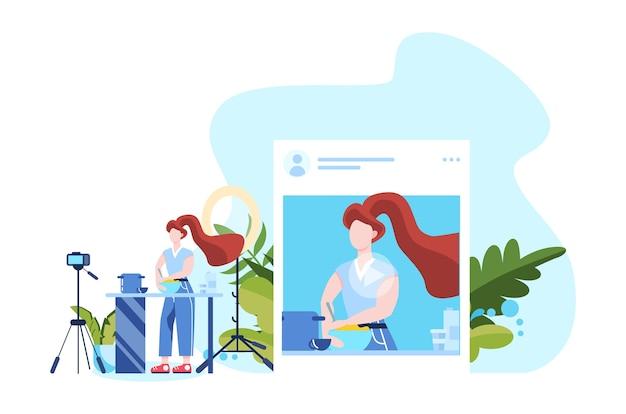 Illustration des instagram-blogging-konzepts. idee von kreativität und inhalt, moderner beruf. charakteraufzeichnungsvideo mit kamera für ihren blog.