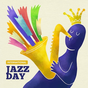 Illustration des internationalen jazz-tages des aquarells