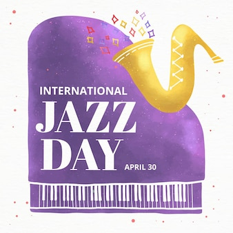 Illustration des internationalen jazz-tages des aquarells