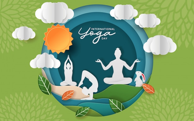 Illustration des internationalen yoga-tages