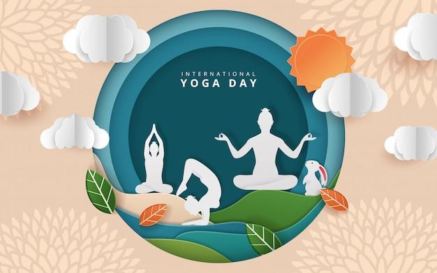 Illustration des internationalen yoga-tages
