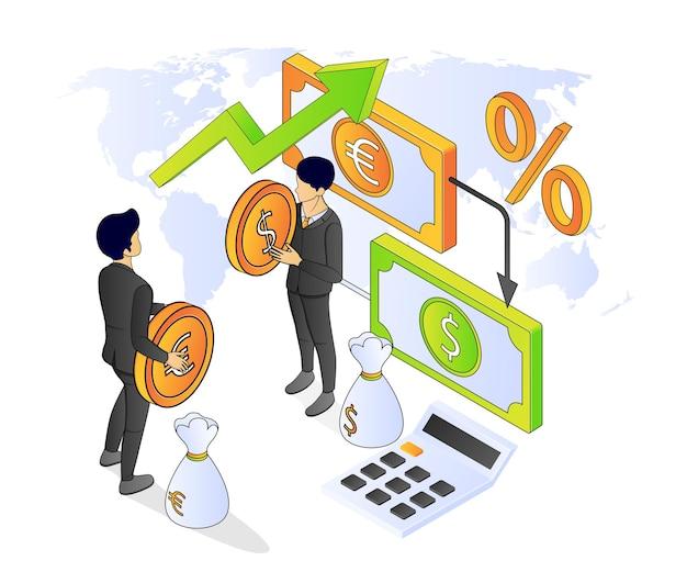 Illustration des isometrischen premium-vektorstils über bank- und finanzwesen mit einem charakter
