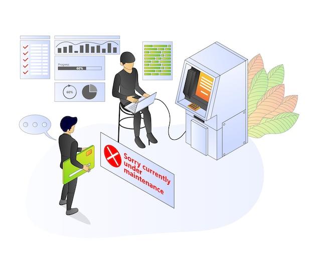 Illustration des isometrischen premium-vektorstils über geldautomaten-banking und -finanzen mit einem charakter
