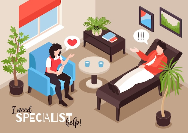 Illustration des isometrischen psychologen