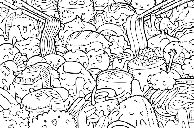 Illustration des japanischen gekritzellebensmittels im karikaturstil
