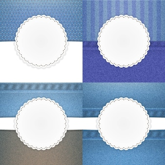 Illustration des jeansvektorschablonen-kartensatzes