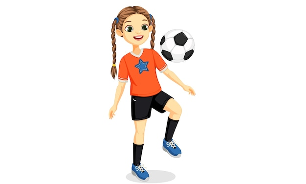 Illustration des jungen fußballspielermädchens