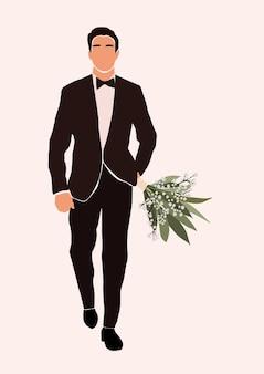 Illustration des jungen männlichen charakters in einem smoking, der hochzeitsblumenstrauß hält