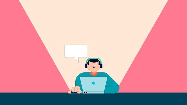 Illustration des jungen mannes, der auf laptopvektor sms schreibt