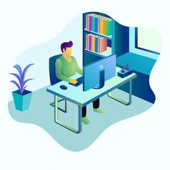 Illustration des jungen mannes, der mit computer arbeitet