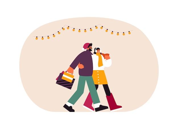 Illustration des jungen mannes und der jungen frau mit papiertüten, die zusammen nach dem weihnachtseinkauf am wochenendtag umarmen und zusammen gehen