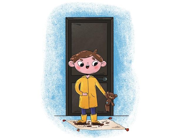 Illustration des jungen mit schmutzigen kleidern und schuhen