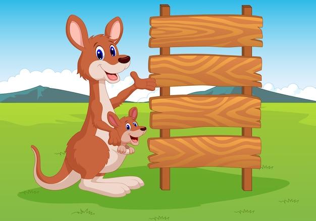 Illustration des kängurus und des holzschildes
