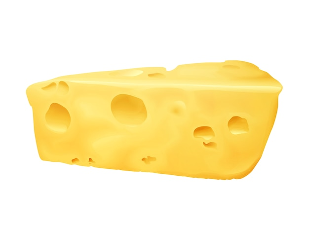 Illustration des käses 3d. emmentaler oder cheddar und edamer käse dreieck klumpen mit löchern