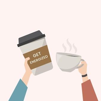 Illustration des kaffees unterwegs