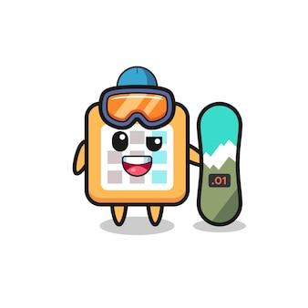 Illustration des kalendercharakters mit snowboard-stil, süßes design für t-shirt, aufkleber, logo-element