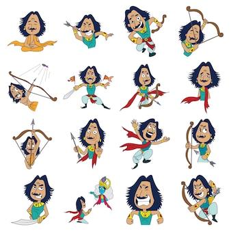 Illustration des karikatur-arjuna-sets