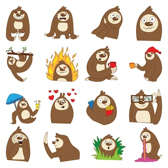 Illustration des karikatur-netten sloth-sets