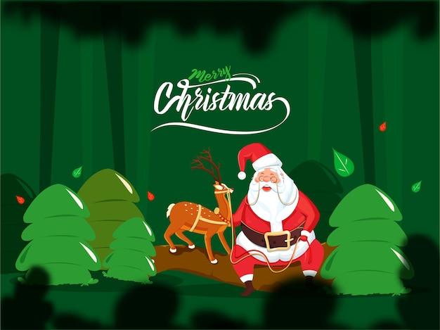 Illustration des karikatur-weihnachtsmanns, der rentier mit bäumen hält