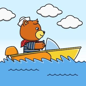 Illustration des karikaturbären auf einem schnellboot