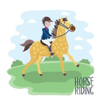 Illustration des karikaturjungenjockeys auf einem pferdegekleideten jockeykostüm