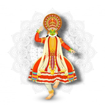 Illustration des kathakali-tänzers durchführend am weißen mandalamusterhintergrund.