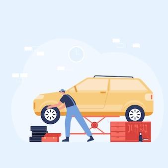 Illustration des kfz-reparatur- und wartungsservicekonzepts. mitarbeiter überprüfen und reparieren autos in der garage. illustration im flachen stil