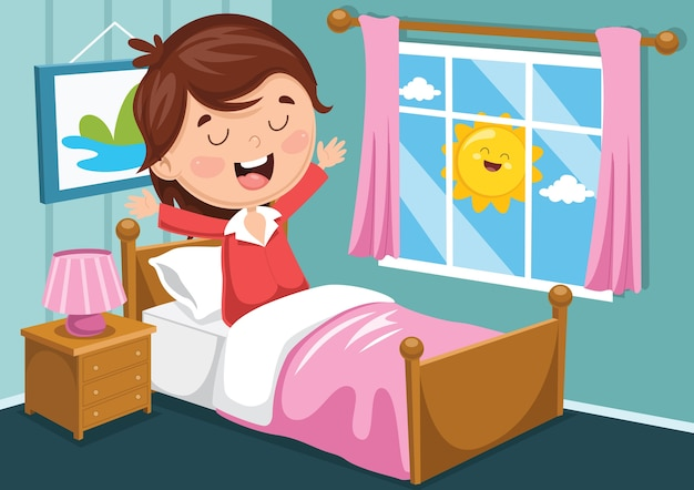 Illustration des kindes aufweckend