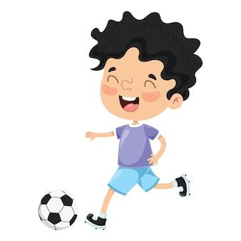 Illustration des Kindes Fußball spielend