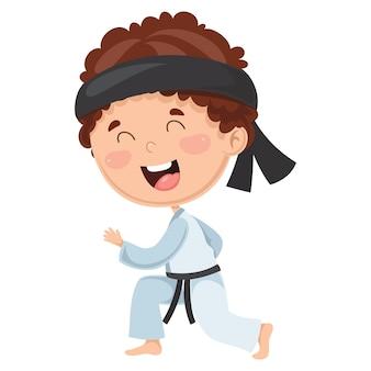Illustration des kindes karate machend