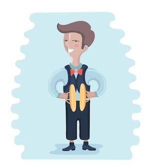 Illustration des kleinen musikers: junge, der becken spielt