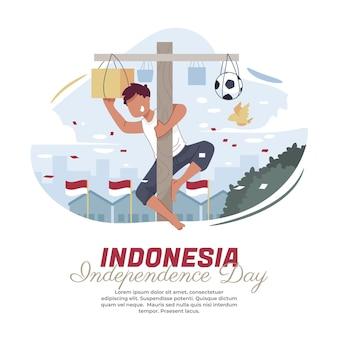 Illustration des kletterns der areca-nuss am indonesischen unabhängigkeitstag