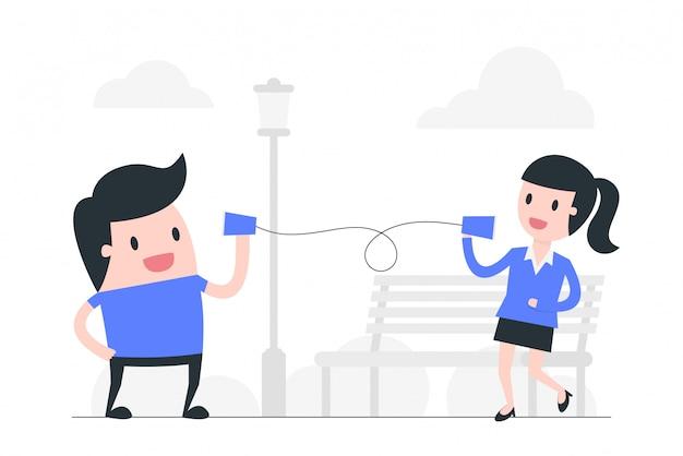 Illustration des kommunikationskonzepts der sozialen distanzierung. Premium Vektoren