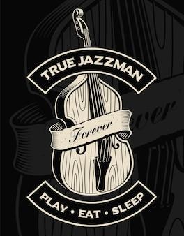 Illustration des kontrabasses mit band, auf dem dunklen hintergrund. text befindet sich in der separaten gruppe.