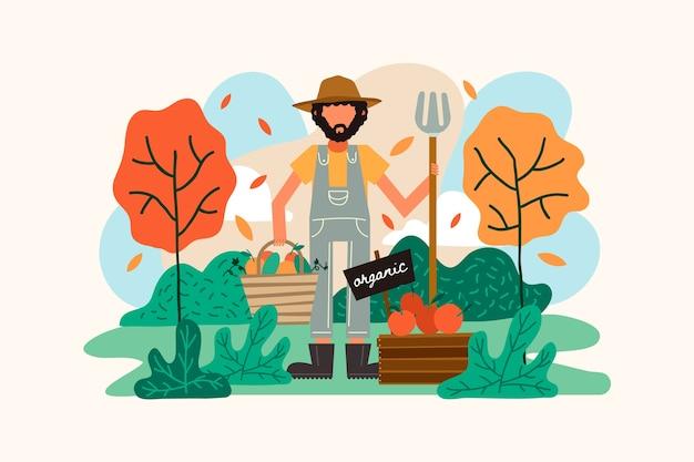 Illustration des konzeptes der biologischen landwirtschaft des mannes