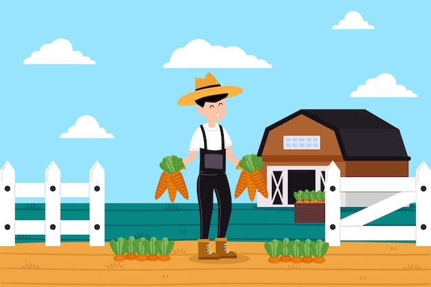 Illustration des konzeptes der biologischen landwirtschaft mit landwirt