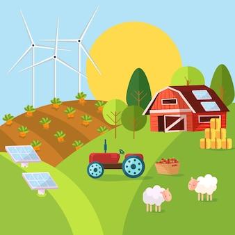 Illustration des konzeptes der biologischen landwirtschaft