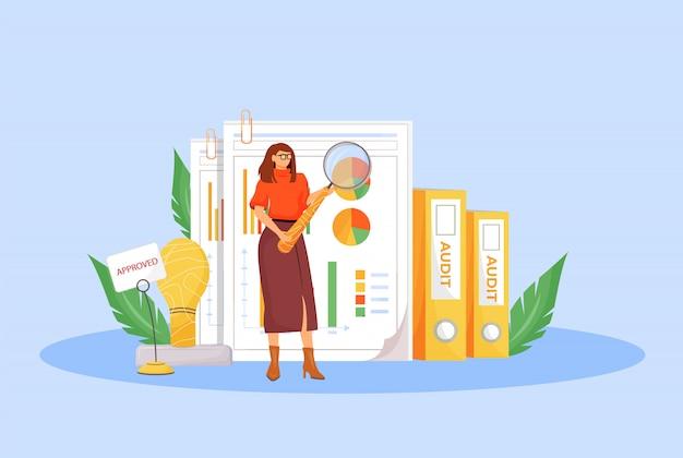 Illustration des konzepts der finanzprüfung. professioneller finanzier, 2d-zeichentrickfigur des geschäftsanalysten für webdesign. wirtschaftsanalyse, budgetbewertung, kreative idee der buchhaltung