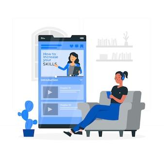 Illustration des konzepts der kurs-app