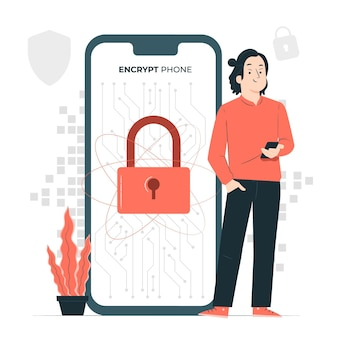 Illustration des konzepts der mobilen verschlüsselung
