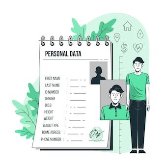 Illustration des konzepts der persönlichen daten