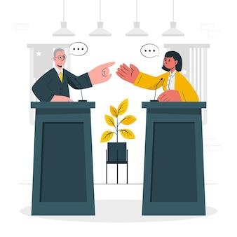 Illustration des konzepts der politischen debatte