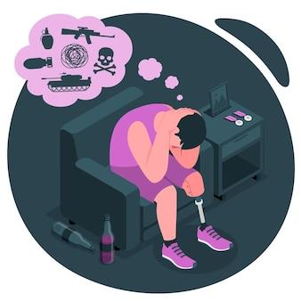 Illustration des konzepts der posttraumatischen belastungsstörung