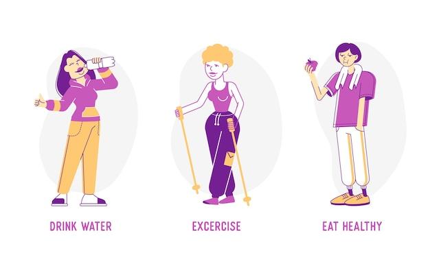 Illustration des konzepts des gesunden lebensstils