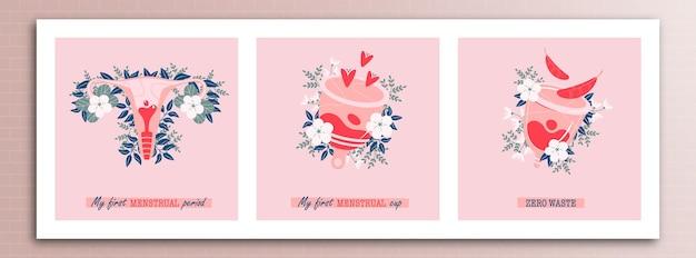 Illustration des konzepts des menstruationszyklus mit verschiedenen inschriften