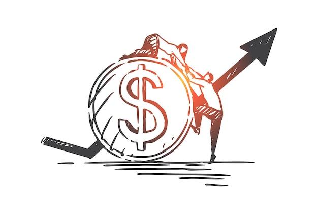 Illustration des konzepts für finanzielle unterstützung, partnerschaft und teamarbeit