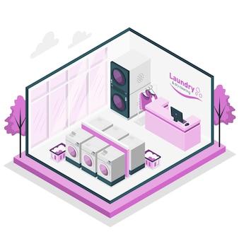 Illustration des konzepts für wäscherei und chemische reinigung