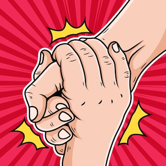 Illustration des kooperations-hand-cartoons. pop art icon illustration