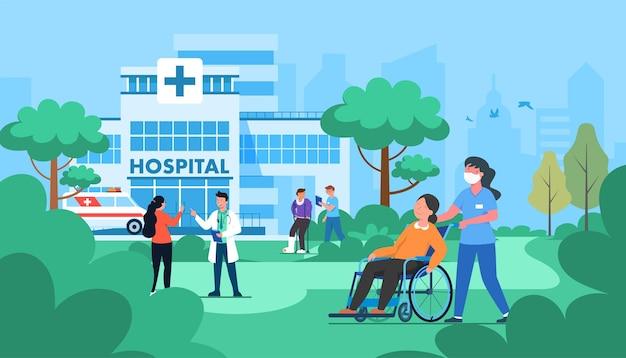 Illustration des krankenhaus-service-konzepts gesundheit und medizinische versorgung, hervorragende betreuung der patienten.