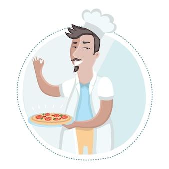 Illustration des küchenchefs, der einen teller pizza in seiner hand hält